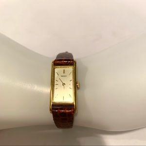 Seiko Quartz Rectangle Face Watch Leather Band